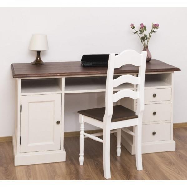 Schreibtisch Weiß und Natur Kiefernholz Massiv 152x78x70cm