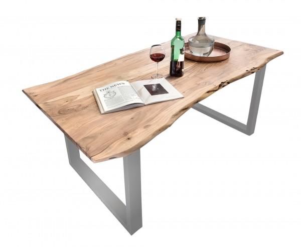 Massivholz Tisch Baumkante Natur Silber 80x140cm