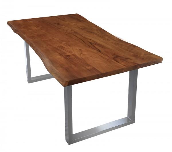 Tisch Akazienholz mit Baumkante Nussbaum Gestell Silber 100x200cm Plattenstärke: 2,6 cm