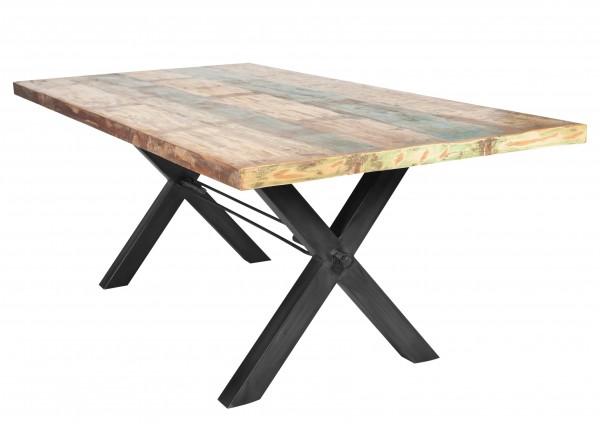 Massivholz Tisch Bunt Gestell Antikschwarz 100x200cm