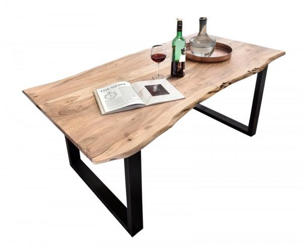 Massivholz Tisch Baumkante Natur Antikschwarz 80x140cm