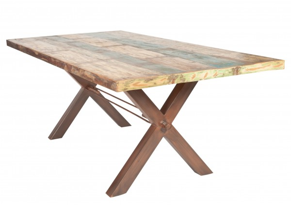 Massivholz Tisch Bunt Gestell Antikbraun 100x200cm