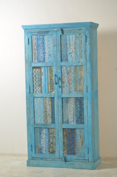 Vintage Möbel Schrank Blau 80x180x45cm Massiv