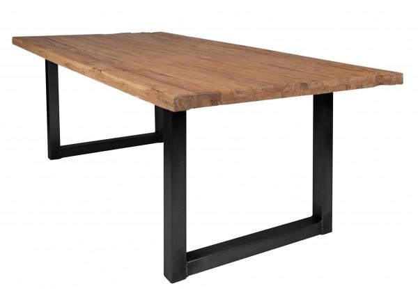 Massivholz Tisch Teakholz Natur Gestell Schwarz 100x200cm