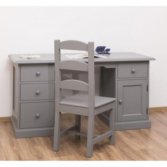 Schreibtisch Grau Kiefernholz Massiv 152x78x70cm
