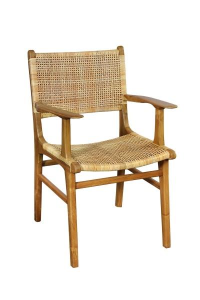 Armlehnstuhl aus Rattan und Teak 59x84x60cm