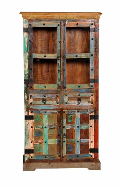 Vintage Massivholz Vitrine 90x180x40cm
