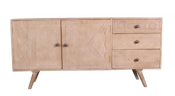 Massivholz Möbel Sideboard 160x75x40cm Verzierungen