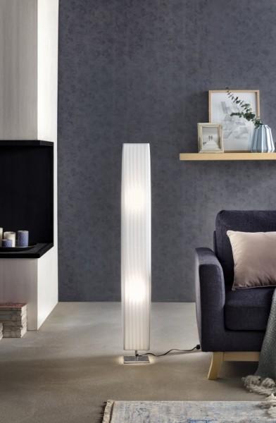 Stehlampe Plissee 120 cm eckig weiß, chrom