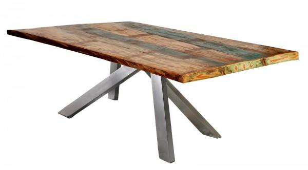 Tisch 100x200cm Altholz Bunt Antiksilber