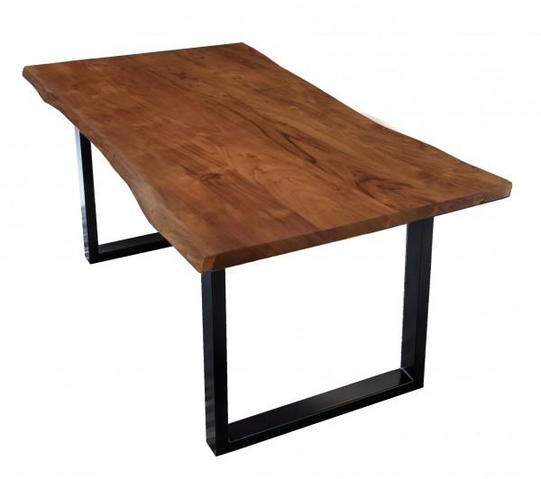 Tisch Akazienholz mit Baumkante Nußbaum Gestell Schwarz 100x200 Plattenstärke: 2,6 cm