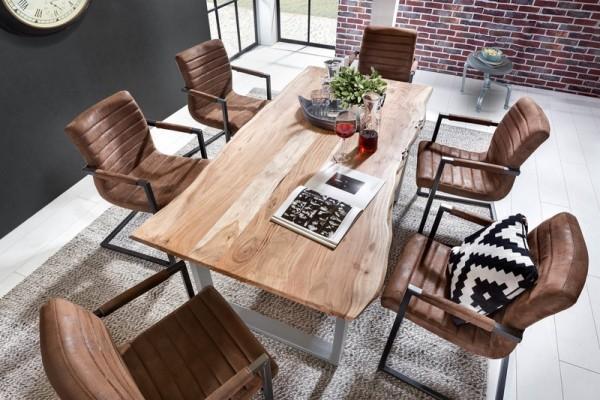 Massivholz Tisch Baumkante Antikfinish Schwarz 90x180cm