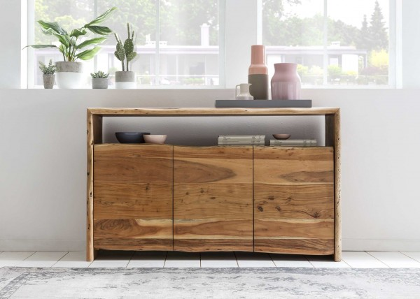 Massivholz Sideboard Baumkante 145x88x45cm Akazienholz