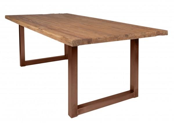 Massivholz Tisch Teakholz Natur Gestell Braun 100x180cm