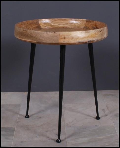 Massivholz Möbel Beistelltisch 63x45x63cm Mangoholz Vintage