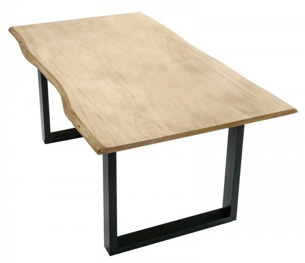 Tisch 85x160cm Akazienholz Hell Gekälkt Schwarz