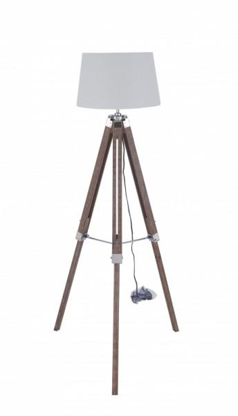 Stehleuchte Weiß Gestell Massivholz 64x143x64cm
