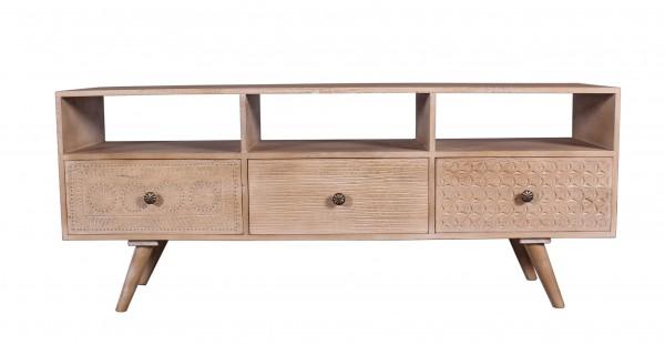 Massivholz Möbel Lowboard 150x58x40cm Verzierungen