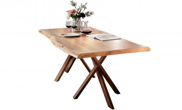Massivholz Tisch Baumkante Natur Gestell Antikbraun 100x200cm