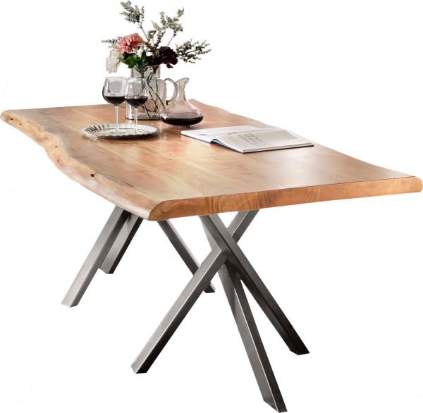 Massivholz Tisch Baumkante Natur Gestell Antiksilber 100x200cm
