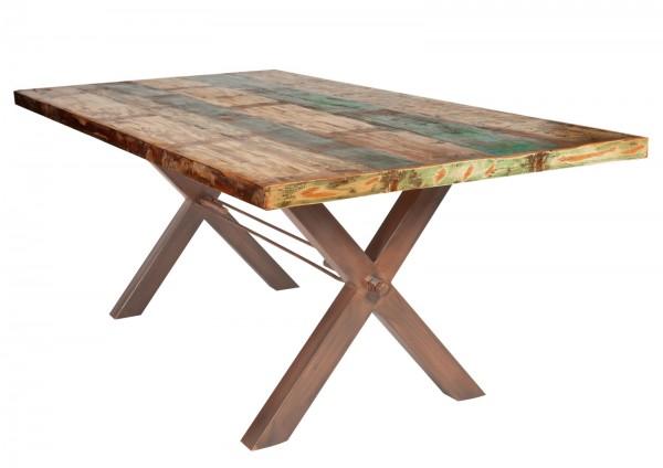 Tisch 100x180cm Altholz Bunt Antikbraun
