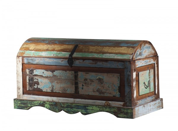 Vintage Möbel halbrunde Truhe 100x44x50cm Altholz