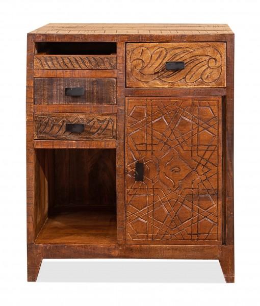 Vintage Massivholz Nachttisch Mangoholz 50x60x45cm