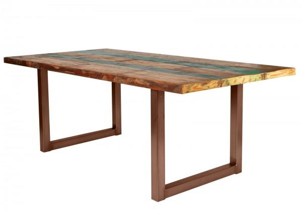 Tisch 100x200cm Altholz Bunt Antikbraun