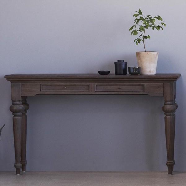 Tisch Konsole Garderobe Natur Teakholz 160x40x80cm Massiv