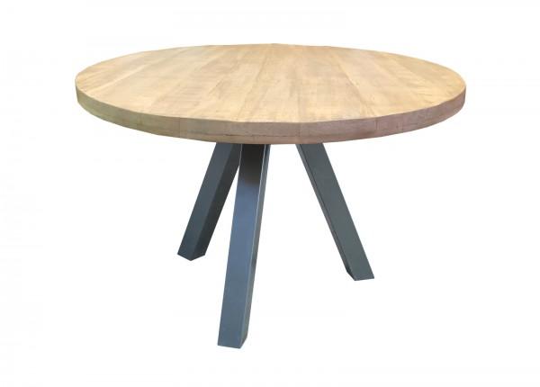 Tisch 120x120cm Mangoholz Natur Rund Gestell Antiksilber