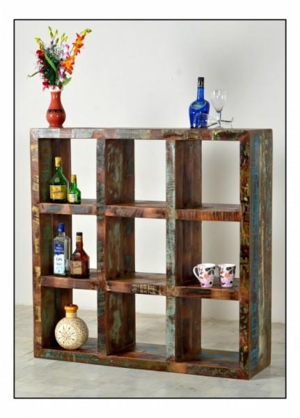 Vintage Möbel Cube Regal 120x120x35cm Massivholz