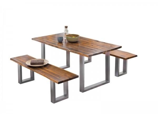 Tisch 100x200cm Akazienholz Cognacfarbig Antiksilber