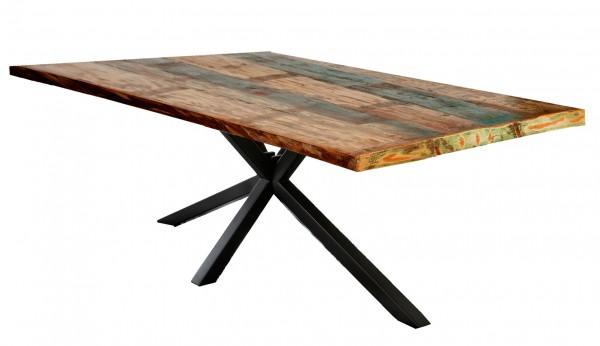 Tisch 100x180cm Altholz Bunt Antikschwarz