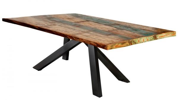 Tisch 85x160cm Altholz Bunt Antikschwarz