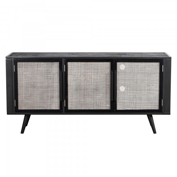 TV Board Anrichte Rattan Metall 160x77x45cm Massiv