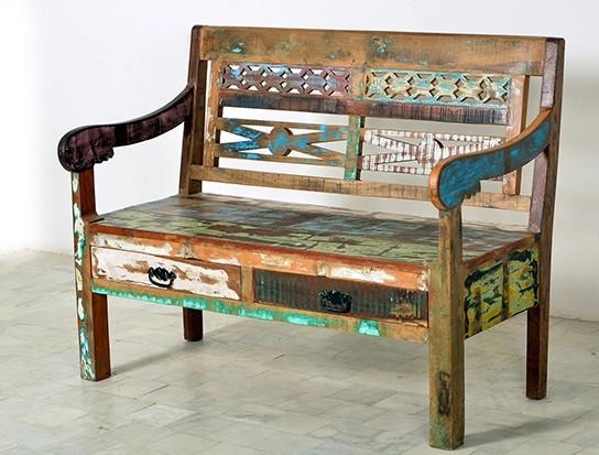 Vintage Möbel Sitzbank Bank 120x60x95cm