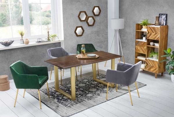 Tisch 85x160cm Akazienholz Messingfarbig Nußbaum