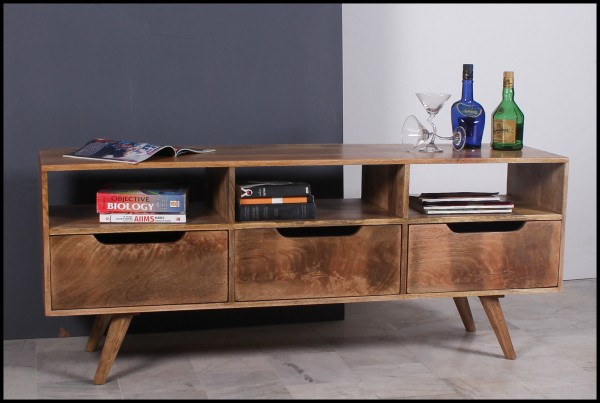Massivholz Möbel Lowboard 150x60x40cm Vintage