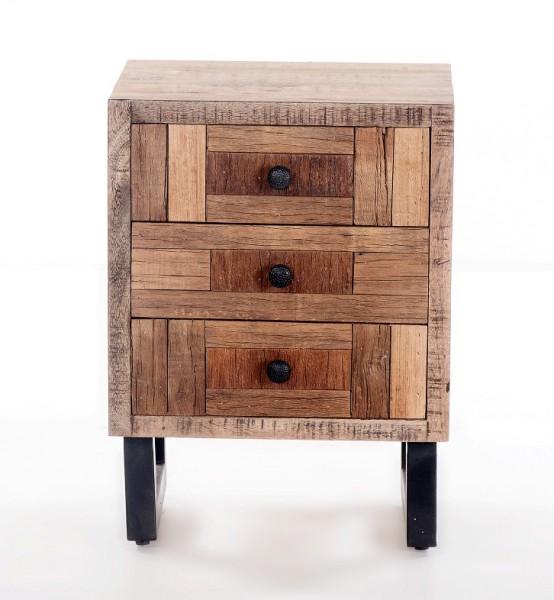 Massivholz Nachtkommode 45x55x35cm recyceltes Teak