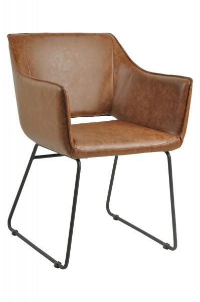 2x Sessel aus massivem Stahl Braun 56x82x61cm