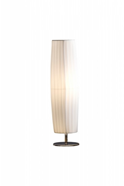 Tischlampe Plissee 60 cm rund weiß, chrom