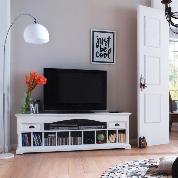 TV Board Weiß 180x60x45cm Mahagoni Massiv