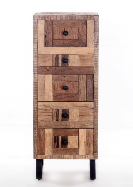 Massivholz Kommode 45x115x35cm recyceltes Teak