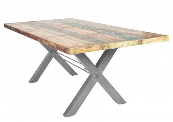 Massivholz Tisch Bunt Gestell Antiksilber 100x200cm