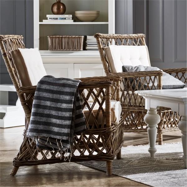 2er Set Rattan Armlehnstuhl mit Sitz- und Rückenkissen 70x94x73cm Massiv