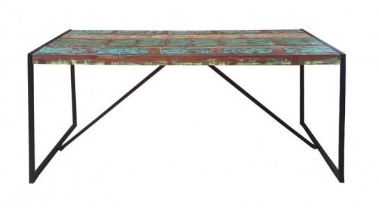 Vintage Massivholz Altmetall Tisch 145x76x70cm