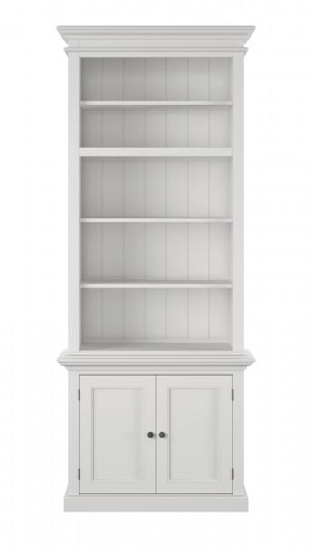 Bücherregal Büffet Weiß 90x220x40cm Massiv