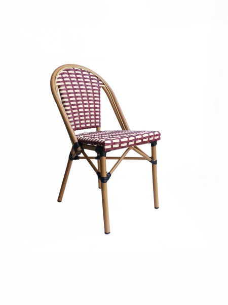 2 x Stuhl in Rattan-Optik beige/rot 54x88x46cm