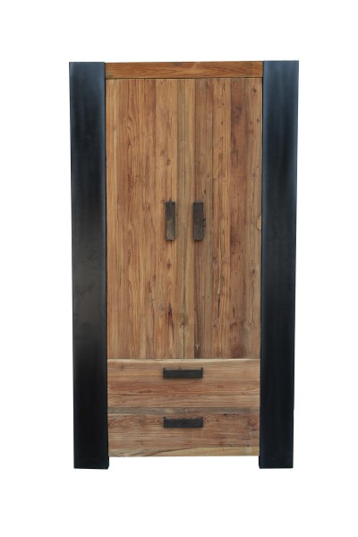 Schrank 110x200x40cm Teakholz Möbel Massiv Antikfinish